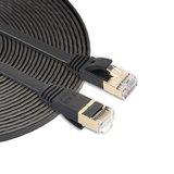 10m CAT7 Ultra dunne Flat Ethernet netwerk LAN kabel (10.000Mbps) - Zwart_
