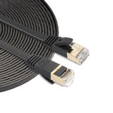 8m CAT7 Ultra dunne Flat Ethernet netwerk LAN kabel (10.000Mbps) - Zwart_