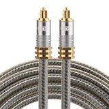 ETK Digital Optical kabel 2 meter / toslink audio male to male / Optische kabel metaal - Grijs_