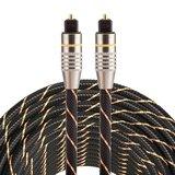 ETK Digital Optical kabel 15 meter / toslink audio male to male / Optische kabel nylon series - zwart_