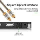 ETK Digital Optical kabel 1 meter / toslink audio male to male / Optische kabel metaal - Grijs_