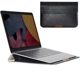 ROCK 11 inch lederen MacBook sleeve - zwart