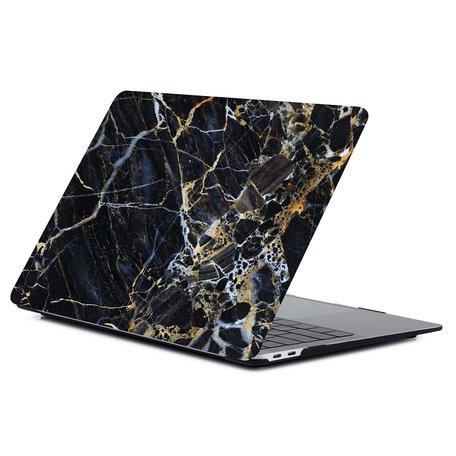 MacBook Air 13 inch case 2018 - Marble zwartgoud (A1932, touch id versie)