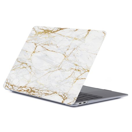 MacBook Air 13 inch case 2018 - Marble witgoud (A1932, touch id versie)