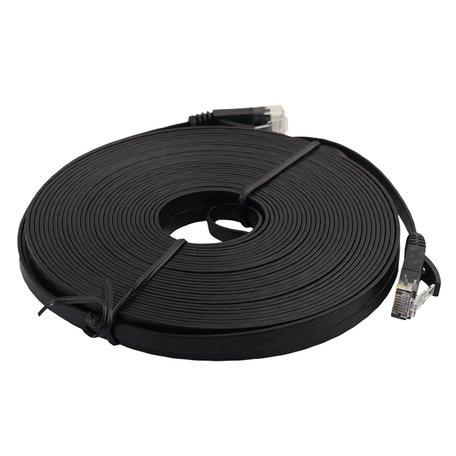 10m CAT6 Ultra dunne Flat Ethernet netwerk LAN kabel (1000Mbps) - Zwart