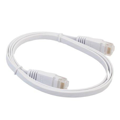 1m CAT6 Ultra dunne Flat Ethernet netwerk LAN kabel (1000Mbps) - Wit