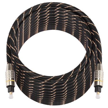 ETK Digital Optical kabel 15 meter / toslink audio male to male / Optische kabel nylon series - zwart