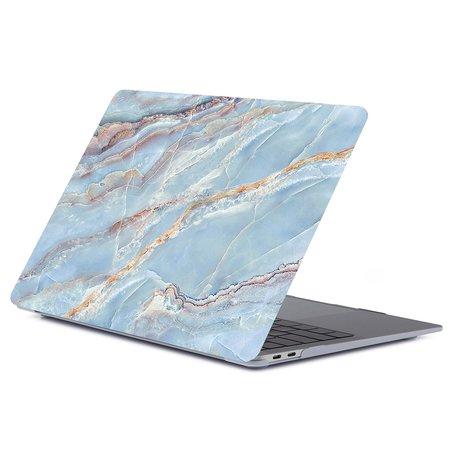 MacBook Air 13 inch case 2018 - Marble blauw (A1932, touch id versie)