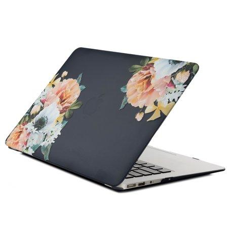 MacBook Air 13 inch case 2018 - Black flower (A1932, touch id versie)