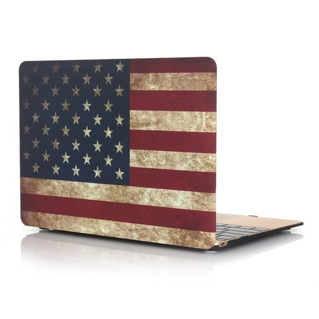 MacBook Air 13 inch case 2018 - Retro USA flag (A1932, touch id versie)