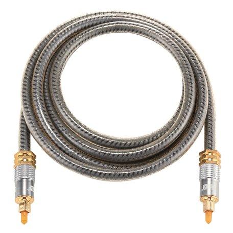 ETK Digital Optical kabel 1 meter / toslink audio male to male / Optische kabel metaal - Grijs