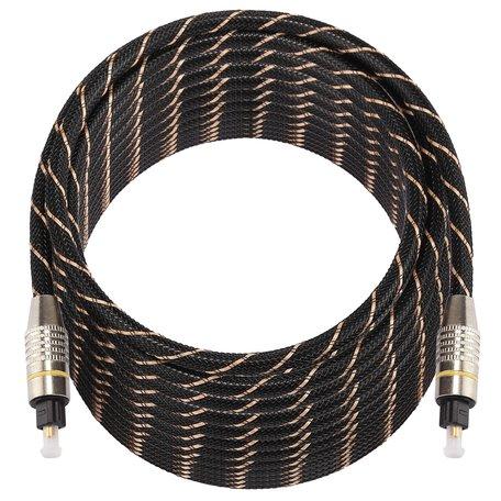 ETK Digital Optical kabel 15 meter / toslink audio male to male / Optische kabel nylon series - zwart