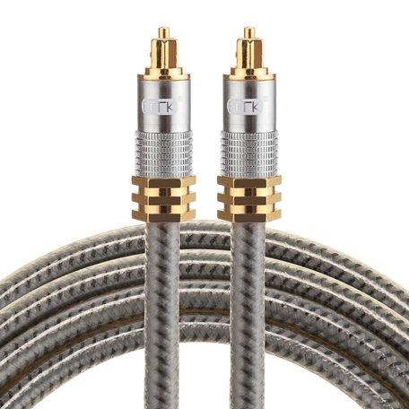ETK Digital Optical kabel 1,5 meter / toslink audio male to male / Optische kabel metaal - Grijs
