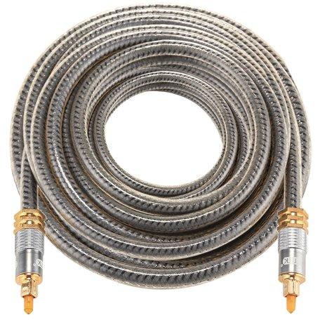 ETK Digital Optical kabel 8 meter / toslink audio male to male / Optische kabel metaal - Grijs