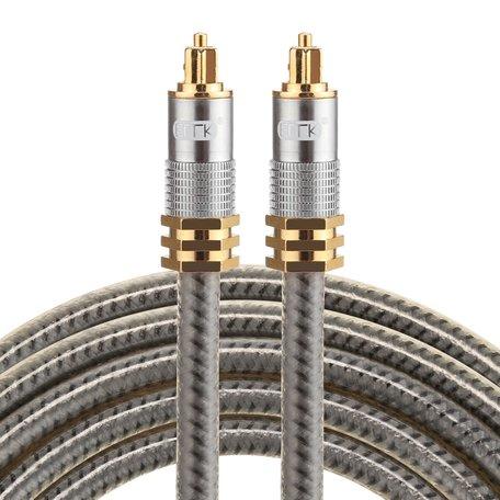 ETK Digital Optical kabel 2 meter / toslink audio male to male / Optische kabel metaal - Grijs