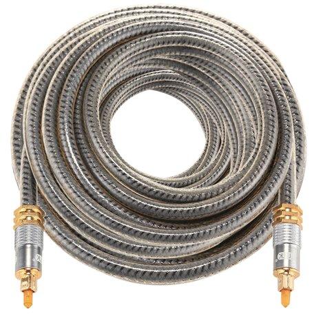 ETK Digital Optical kabel 15 meter / toslink audio male to male / Optische kabel metaal - Grijs