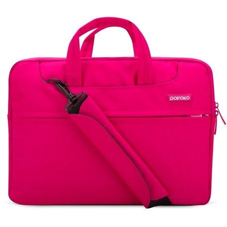 POFOKO 12 inch laptoptas met schouderband - Magenta