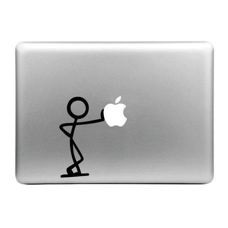 MacBook sticker - poppetje leunt