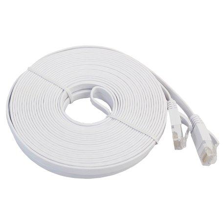 15m CAT6 Ultra dunne Flat Ethernet netwerk LAN kabel (1000Mbps) - Wit