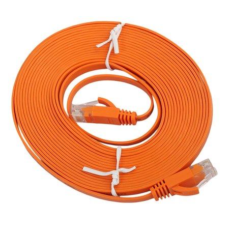 10m CAT6 Ultra dunne Flat Ethernet netwerk LAN kabel (1000Mbps) - Oranje