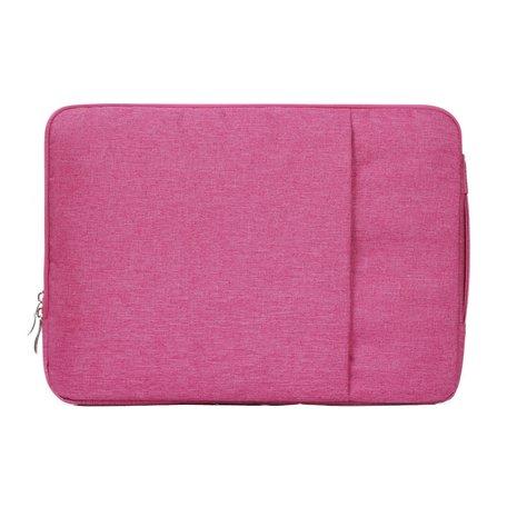 15 inch sleeve met extra vak - roze