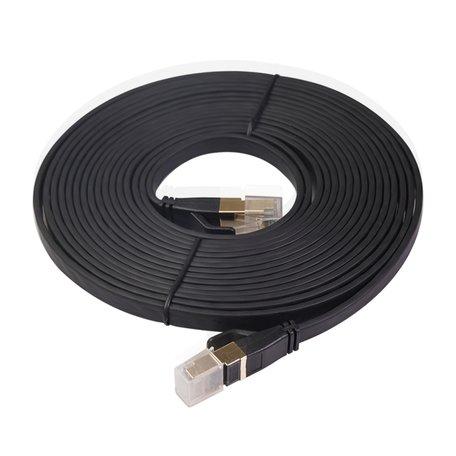 7.6m CAT8 Ultra dunne Flat Ethernet LAN kabel - Zwart