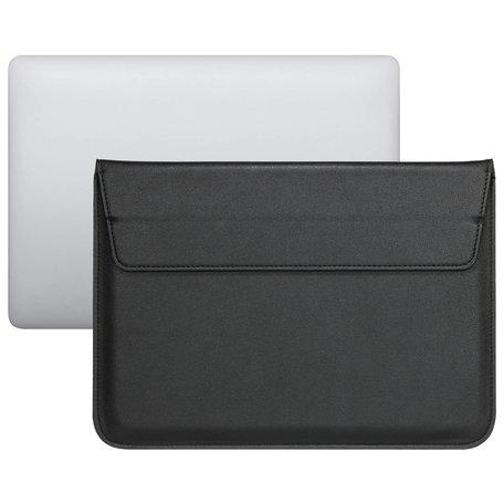 13 inch PU Leer envelop sleeve met standaard - Zwart