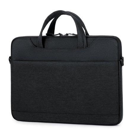 13 inch laptoptas met schouderband en extra vak - Zwart