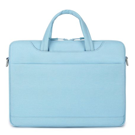 13 inch laptoptas met schouderband en extra vak - Licht Blauw