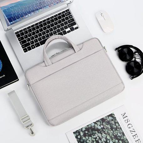 13 inch laptoptas met schouderband en extra vak - Grijs