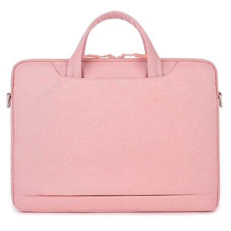 13 inch laptoptas met schouderband en extra vak - Roze