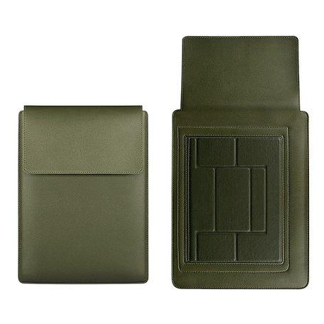 13 inch PU Leer Sleeve met standaard - Groen