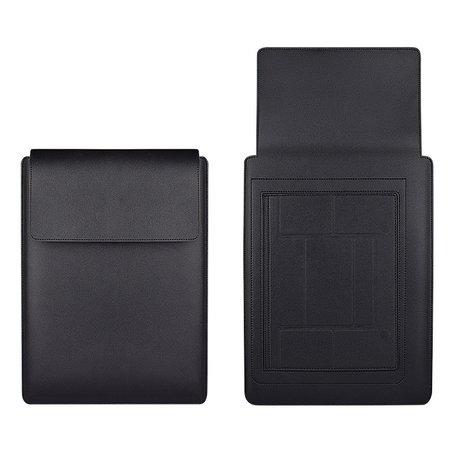 13 inch PU Leer Sleeve met standaard - Zwart