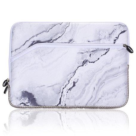 13 inch sleeve met extra vak - Wit Marble