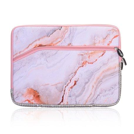 13 inch sleeve met extra vak - Roze Marble