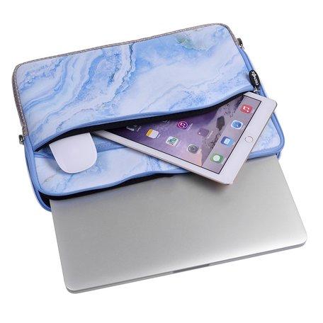 13 inch sleeve met extra vak - Blauw Marble