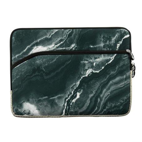 13 inch sleeve met extra vak - Zwart Marble