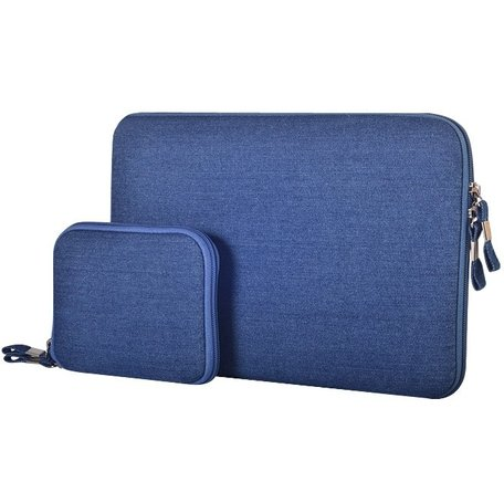 POFOKO 15.4 inch denim sleeve - Blauw