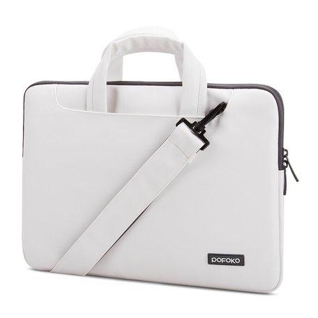 POFOKO 13.3 inch laptoptas met schouderband - Wit