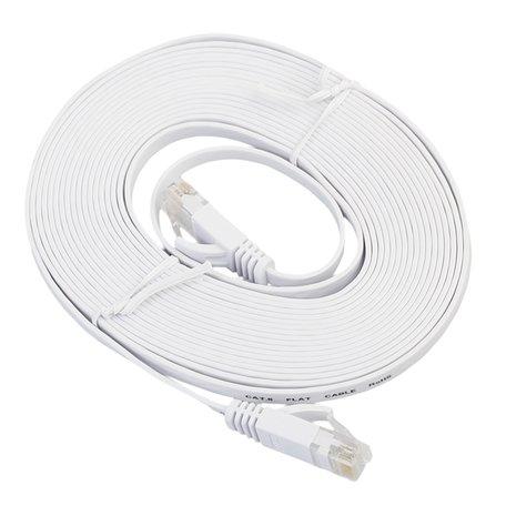 10m CAT6 Ultra dunne Flat Ethernet netwerk LAN kabel (1000Mbps) - Wit
