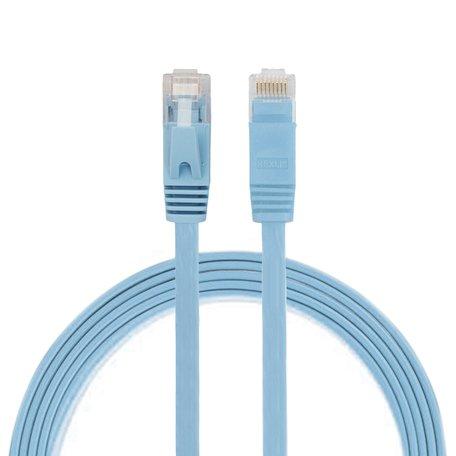 1m CAT6 Ultra dunne Flat Ethernet netwerk LAN kabel (1000Mbps) - Blauw