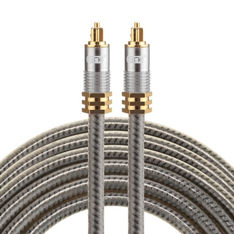 ETK Digital Optical kabel 3 meter / toslink audio male to male / Optische kabel metaal - Grijs