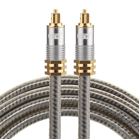 ETK Digital Optical kabel 1,5 meter / toslink audio male to male / Optische kabel metaal - Grijs