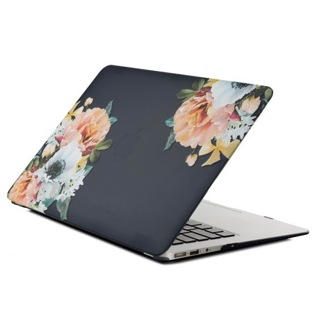 MacBook Air 13 inch case 2018 - Black flower (A1932, touch id versie)