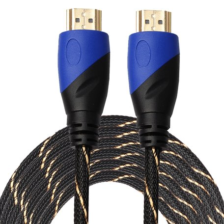HDMI kabel 10 meter - HDMI 1.4 versie - High Speed - HDMI 19 Pin Male naar HDMI 19 Pin Male Connector Cable - Nylon black line