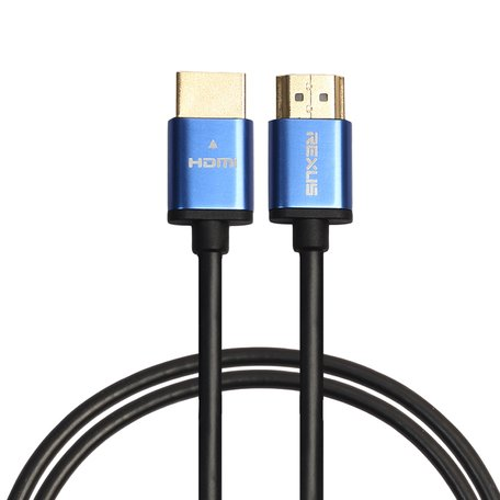 HDMI kabel 1 meter - HDMI 1.4 versie - High Speed 1080P - HDMI 19 Pin Male naar HDMI 19 Pin Male Connector Cable - Aluminium blue line