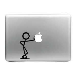MacBook sticker - poppetje leunt