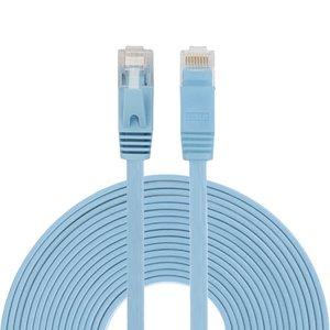 10m CAT6 Ultra dunne Flat Ethernet netwerk LAN kabel (1000Mbps) - Blauw