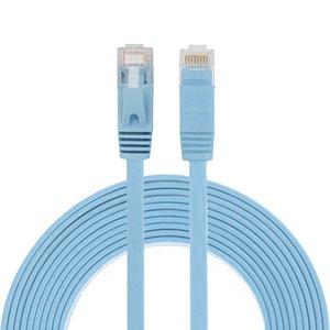 3m CAT6 Ultra dunne Flat Ethernet netwerk LAN kabel (1000Mbps) - Blauw