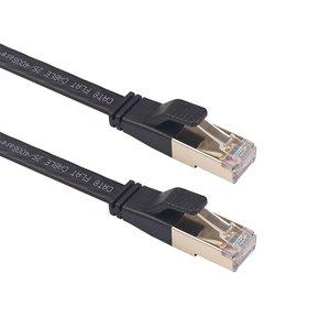 0.5m CAT8 Ultra dunne Flat Ethernet LAN kabel - Zwart